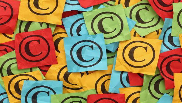 Crumpled copyright symbols. Copyright concept.